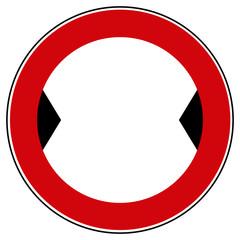 rsr27 RoadSignRound - Zeichen: 264 - Verbot für Fahrzeuge über der angegebenen tatsächlichen Breite einschließlich Außenspiegel - blanko - Fahrspur / Fahrbahnverengung - xxl - g5331