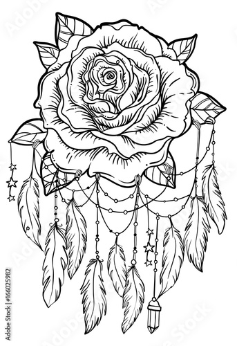 Quot Dream Catcher With Rose Flower Detailed Vector