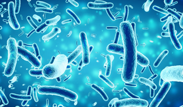 bacteria in a blue background