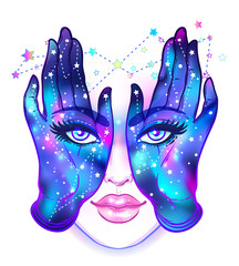 Mysterious creature with eyes on the hands. Hand drawn illustration over night sky. Occult design vector illustration.  Vector isolated on white.