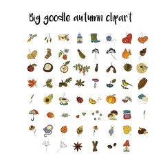 Big set of handdrawn unique autumn icons.