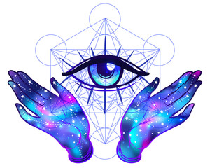 Female hands with galaxy inside open around masonic symbol. New World Order. Hand-drawn alchemy, religion, spirituality, occultism. Vector illustration.