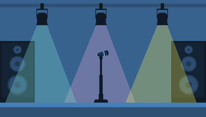 Concert stage with a microphone and a lamp. Vector illustration