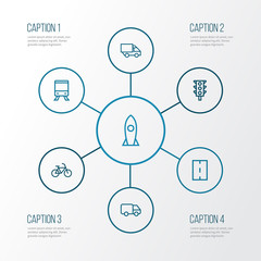 Shipment Outline Icons Set. Collection Of Road, Rocket, Train And Other Elements. Also Includes Symbols Such As Bicycle, Motor, Driveway.
