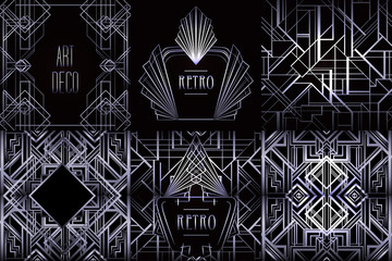 Art Deco vintage patterns and design elements. Retro party geometric background set (1920's style). Vector illustration for glamour party.