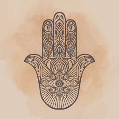 Ornate hand drawn hamsa. Popular Arabic and Jewish amulet.