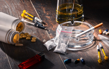 Addictive substances, including alcohol, cigarettes and drugs