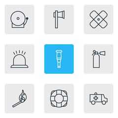 Vector Illustration Of 9 Emergency Icons. Editable Pack Of Fire, Alarm, Safety And Other Elements.