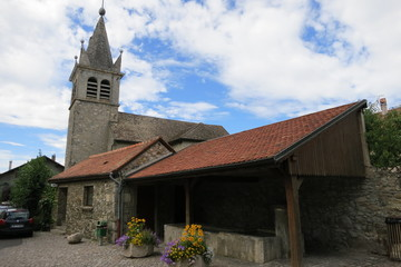 Fountain in the medieval village of Nernier, Haute-savoie France.