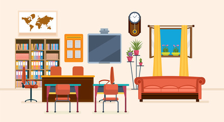 Interior of room for teacher, with furniture, interior items, objects.