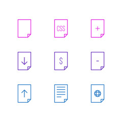 Vector Illustration Of 9 File Icons. Editable Pack Of File, Document, Style And Other Elements.