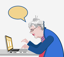 Grandmother with the computer sits. Vector illustration in a flat style. Old progressive woman use modern technology. White background and speech bubble