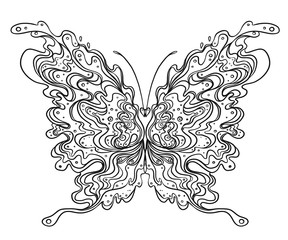 Hand drawn butterfly zentangle for t-shirt design or tattoo. Coloring book for kids and adults.