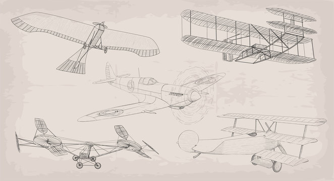 Hand drawn element object vintage air transport helicopter, plane, airplane retro design set black linear . Vector beautiful cute various illustration isolated on beige old background. Info graphics