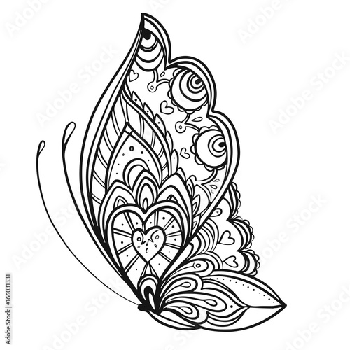 Hand drawn butterfly zentangle for t-shirt design or tattoo ...