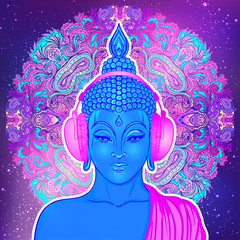 Modern Buddha listening to the music in headphones in neon colors isolated on white. Vector illustration. Vintage psychedelic composition. Indian, Buddhism, trance music.