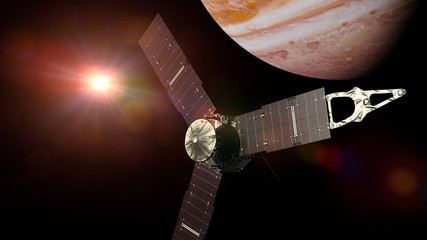 Juno spacecraft in front of the planet Jupiter and the Sun