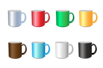 Vector set of colored mugs. Isolated cups on white background.