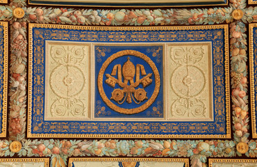 Part of ornamental ceiling in Vatican museum, Rome, Italy