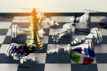 Double exposure of War Financial games concept