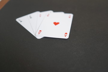 Aces poker cards. Selective focus
