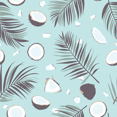 Seamless pattern with coconut and palm leaves. Tropical pattern background. Vector illustration