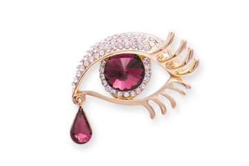 Wall Mural - Gold brooch eye with diamonds аnd a large ruby isolated on white