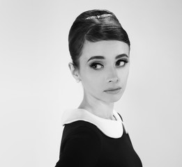 beautiful young woman in retro style