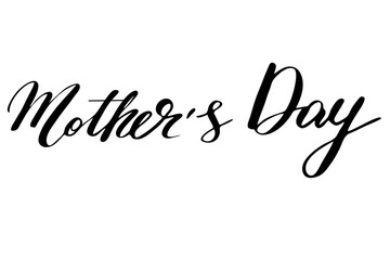 Mother's Day. Handwritten black text isolated on white background, vector. Each word is on the separate layer