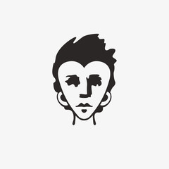 Drawn grunge grim graphic icon of a man's head. Vector illustration of people. Portrait in a modern style design