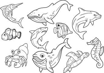 sea life, set of cute cartoon images