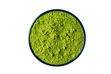 matcha green tea powder isolated on white, clipping path included