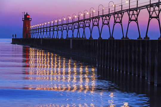South Haven, Michigan Lighthouse and Reflections after Sundown