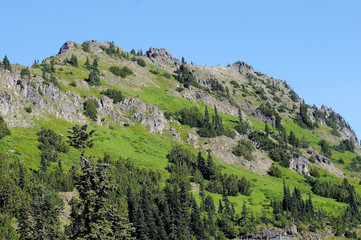 Granite and Green Hillside