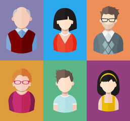 Flat people icons (mother, father and their son and daughter, grandpa and grandma. Family. Segment of population