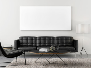 Retro living room with mock up poster, 3d illustration