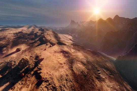 Sunset on Mars. Mountain landscape