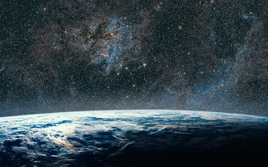 Earth and galaxy. Night Sky Space.Some elements of this image are furnished by NASA.