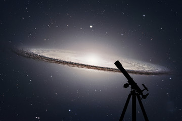 Space background with silhouette of telescope. Sombrero Galaxy M104  in constellation Virgo.