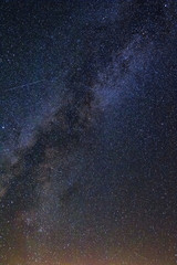 Milky Way high above the desert landscape at Trona Pinnacles