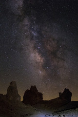 Desert landscape at night with the milkyway