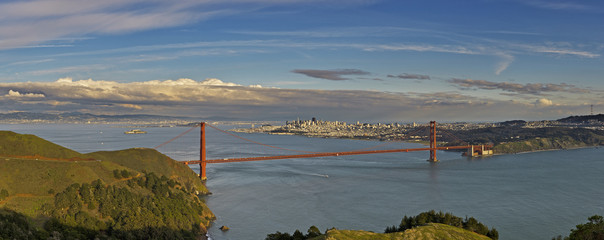 The Golden Gate bridge, as seen from the Marin Headlands, at sunset
