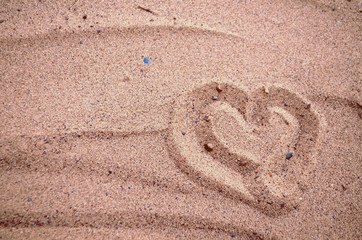 Picture heart on sand