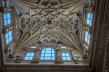 Intricate design on the ceiling of the Mosque Church in Cordoba, Spain, Europe