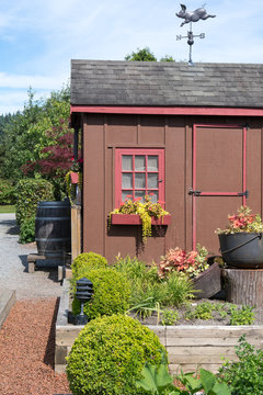 Colorful Garden Shed with a Whimsical Pig Weathervane