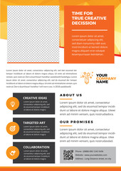 Orange Phamphlet or Flyer in A4 Size | Perfect for professional, creative, coorporate, agency, company promotion
