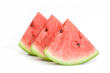 Watermelon slices on white background