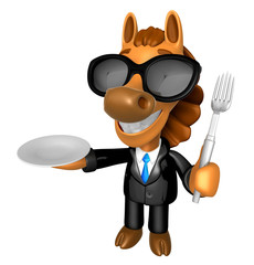 Wear sunglasses 3D Horse Mascot hand is holding a Fork and Plate. 3D Animal Character Design Series.