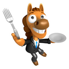3D Horse Mascot hand is holding a Fork and Plate. 3D Animal Character Design Series.