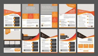 a bundle of 10 templates of a4 flyer template, modern template, in orange and yellow color, and modern design, perfect for creative professional business